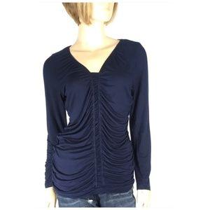 Design History Ruched Long Sleeve Shirt Medium